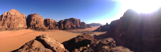 Pano of the Wadi Rum showing the village/town in the desert